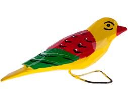 Tradycyjna rzeźba ludowa - duży folk ptaszek żółto - czerwony
