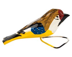 Tradycyjna rzeźba ludowa - mały folk ptaszek żółto - brązowo - niebieski
