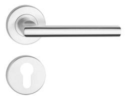 Zestaw (klamki plus szyldy, tarczki) METRO, bezpieczny - do drzwi zewnętrznych, INOX stal nierdzewna