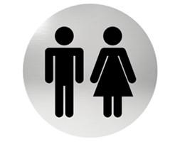 Oznaczenie informacyjne na drzwi, piktogram WC - TOALETA, przyklejane, stal nierdzewna