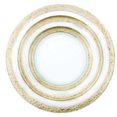 Szklany talerz dekoracyjny LISA GOLD 39 cm -- złoty żółty - rabat 10 zł na pierwsze zakupy!