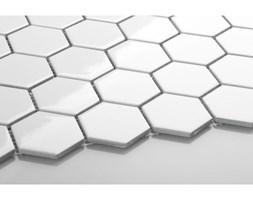 Hexagon duży, biały, szkliwiony