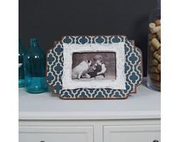 Ramka na zdjęcie, niebiesko- kremowe zygzaki, styl rustykalny.