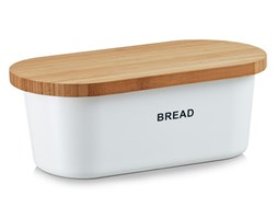 Biały chlebak BREAD z deską do krojenia, 2w1