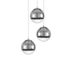 GINO lampa wisząca 3 x 60W E27 żyrandol ball kula srebrna design