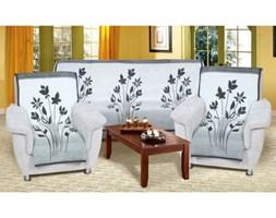 Narzuty na kanapę i fotele Karmela Plus Kwiat szary 3+1+1