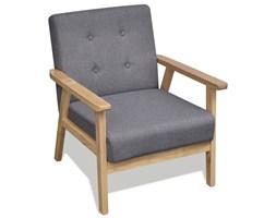 242225 Szary fotel retro z drewnianą ramą
