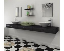 272235 vidaXL 7 elementowy zestaw czarnych mebli łazienkowych z umywalkami