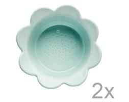 Zestaw 2 turkusowych misek Sagaform Piccadilly Kwiatki, 13x6,5 cm