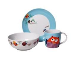 Zestaw śniadaniowy dla dzieci Sówki - 3 elementy