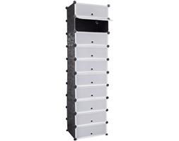 242128 Biało Czarny organizer na buty szafka z 10 szufladami 47 x 37 x 172 cm