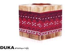 Drewniany świecznik 6,5x6,5 cm czerwony