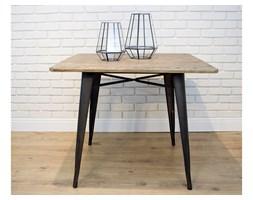 Stół w stylu industrialnym z drewnianym blatem ALVAR