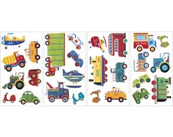 Naklejki dekoracyjne – Auta, pociągi, samoloty - 4 arkusze, 26 szt. ROOMMATES