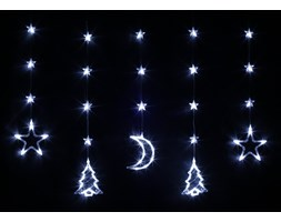 Bulinex :: Kurtyna świetlna LED z dekoracjami świątecznymi