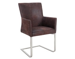 Krzesło Gusto z podłokietnikami - ciemnobrązowy