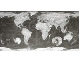 Mapa świata w przezroczystym etui Monochrome World Map, 130x72cm
