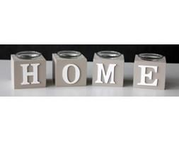 Komplet 4 świeczników Home beżowych 7,5x7,5x7 cm