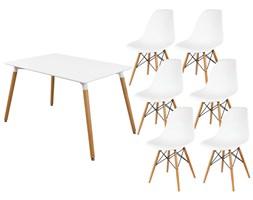 SK DESIGN ST05 ZESTAW biały stół 120 x 80 + 6 krzeseł białe KR012