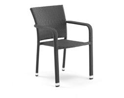 Krzesło kawiarniane Aston z podłokietnikami, czarny rattan
