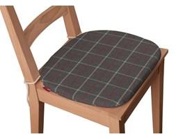 Dekoria Siedzisko Bartek na krzesło, czerwono- beżowa krata na szarym tle, 40 × 37 × 2,5 cm, Edinburgh