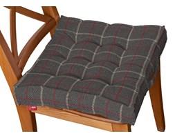 Dekoria Siedzisko Kuba na krzesło, czerwono- beżowa krata na szarym tle, 40 × 40 × 6 cm, Edinburgh