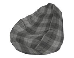 Dekoria Worek do siedzenia, krata w odcieniach szarości, Ø50 × 85 cm, Edinburgh