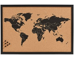Tablica korkowa na notatki World, 60x40 cm, ZELLER