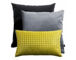Żółto-szaro-czarny zestaw poduszek welurowych + Pepitka