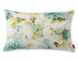 Dekoria Poszewka Kinga na poduszkę prostokątną, turkusowo-oliwkowe kwiaty na białym tle, 60 × 40 cm, Acapulco