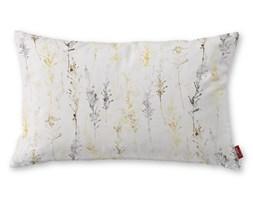 Dekoria Poszewka Kinga na poduszkę prostokątną, żółto-szare gałązki na białym tle, 60 × 40 cm, Acapulco