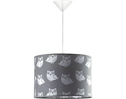OWL lampa wisząca 1 x 40W E27  dziecięca abażurowa szara sowy DUOLLA 7069