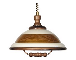 Lampa wisząca AKRYL DR 54 1xE27/60W Grecki wzór/dąb tm.