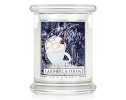 Kringle Candle - Cashmere & Cocoa - średni, klasyczny słoik (411g) z 2 knotami
