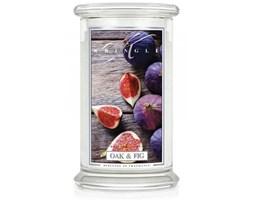 Kringle Candle - Oak & Fig - duży, klasyczny słoik (623g) z 2 knotami