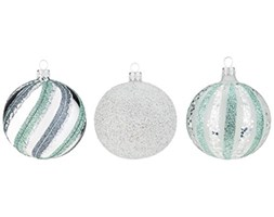 Piłki glassor 5004 Christmas ball – Set of 6, 3 different Tapes, szkło, Silver, Green, 8 x 8 x 8 cm