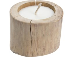 Duży świecznik z drewna tekowego ze świeczką,  Ø 18 cm