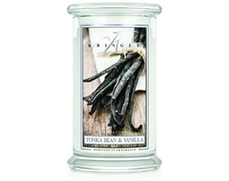 Kringle Candle - Tonka Bean & Vanilla - duży, klasyczny słoik (623g) z 2 knotami