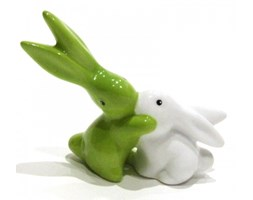 Figurka Bunnies In Love króliczki biało - zielony Goebel
