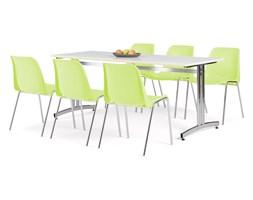 Zestaw mebli do jadalni, stół 1800x700 mm, biały + 6 krzeseł, limonkowy/chrom