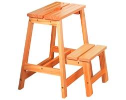 Drewniana drabinka składana z dwoma stopniami