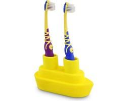 Stojak na szczoteczki do zębów podwójny Boat żółty