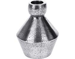 Oryginalny świecznik kolorze srebrnym, 10 cm wysokości, stylizowany na staroć, geometryczny kształt