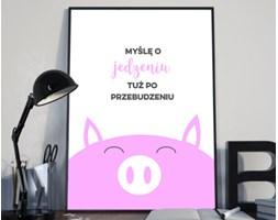 Plakat premium - Hasło motywacyjne - Myślę o jedzeniu - 29.7 x 42 cm