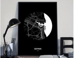 Plakat premium - Mapa Gdyni w kole czarno-biała - 29.7 x 42 cm