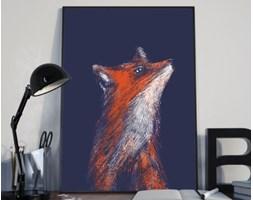 Plakat premium - Rudy lis na ciemnym tle - 29.7 x 42 cm