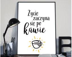 """Plakat premium - """"Życie zaczyna się po kawie""""  - typografia na białym tle - 29.7 x 42 cm"""