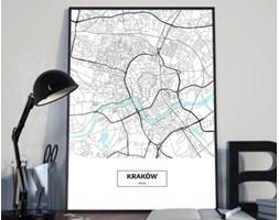 Plakat premium - Mapa Krakowa z podpisem na białym tle - 50 x 70 cm