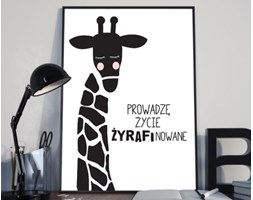 Plakat premium - Ilustracja - żyrafa z hasłem motywacyjnym - 50 x 70 cm