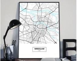 Plakat premium - Mapa Wrocławia z podpisem na białym tle - 50 x 70 cm